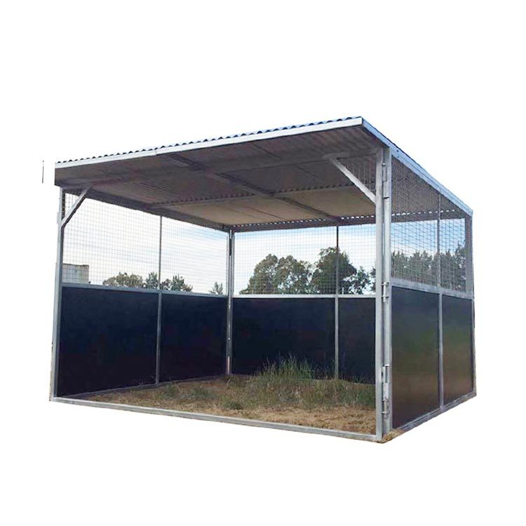Galvanized horse stable with plywood board