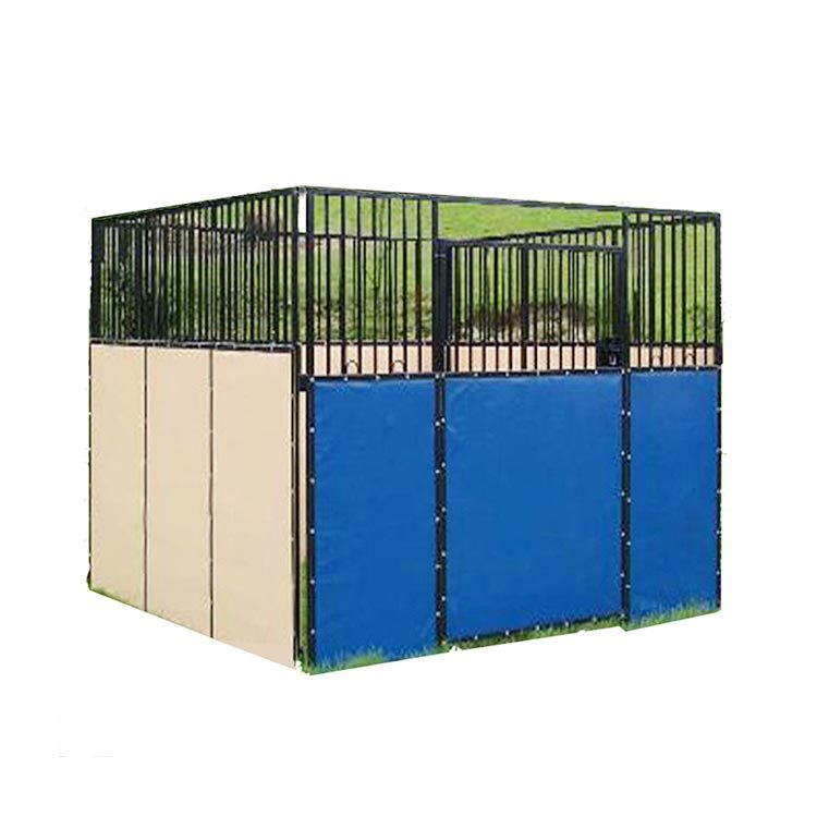 Outside galvanized temp horse stable with PVC EPE board
