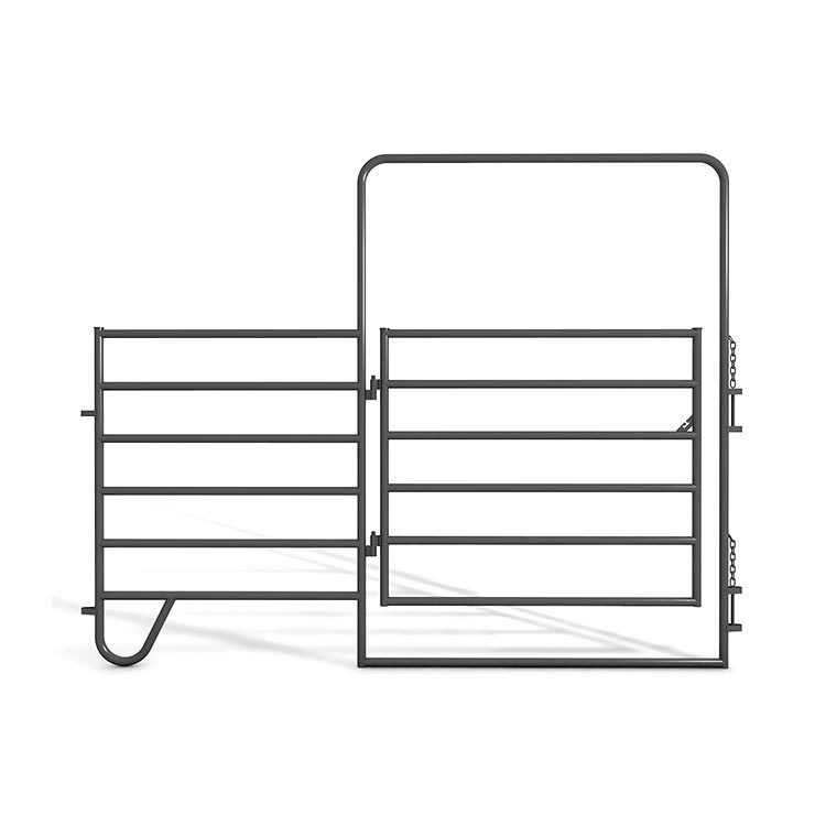 Outdoor galvanized horse panel fence with gate